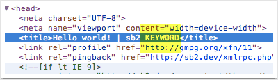 Keyword appended to the title tag.