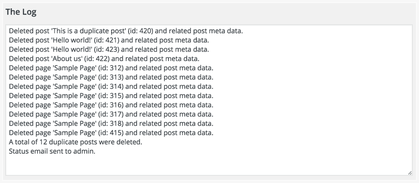 Log file of deleted posts and pages