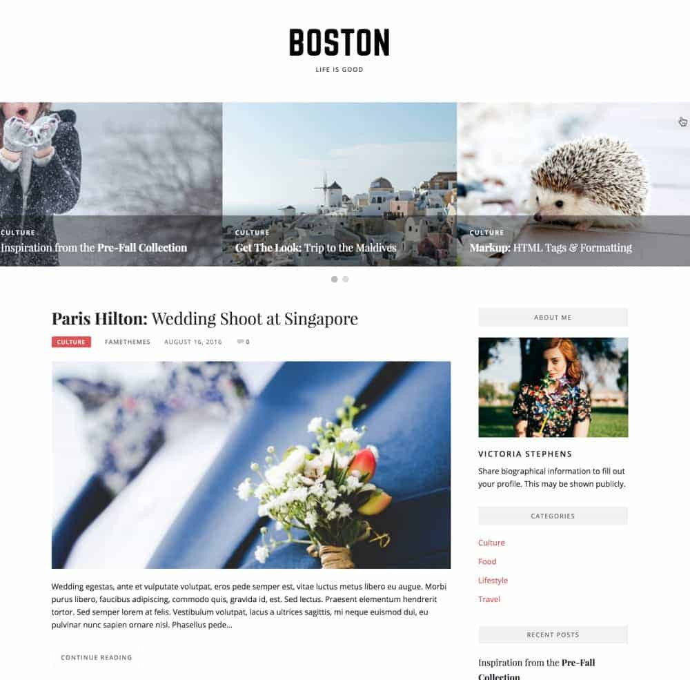 Boston WordPress Theme