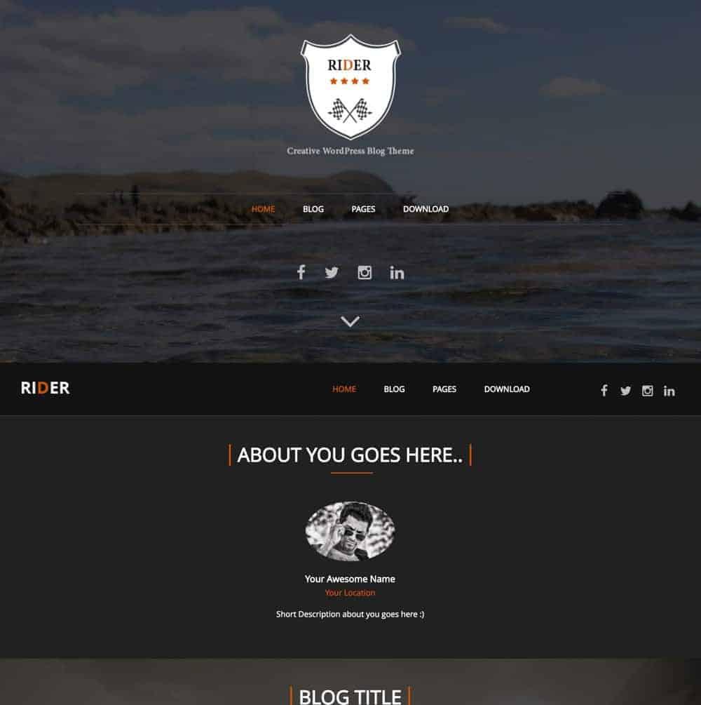 Rider WordPress Theme