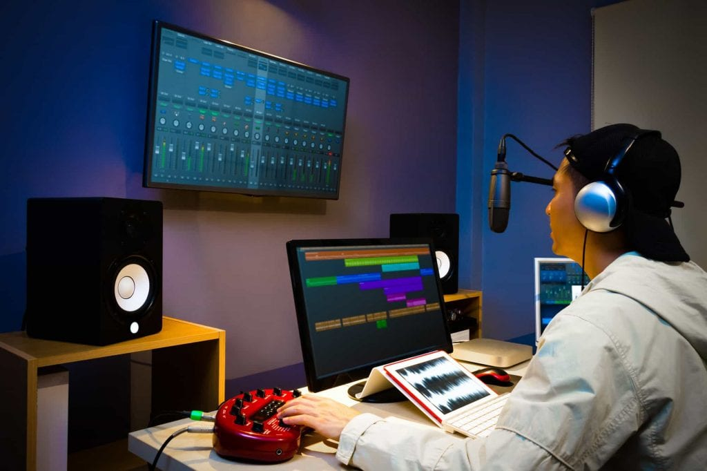 Online video and audio production in a studio