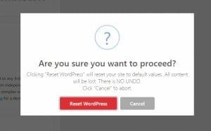 Reset WordPress