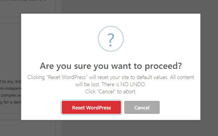 Reset WordPress