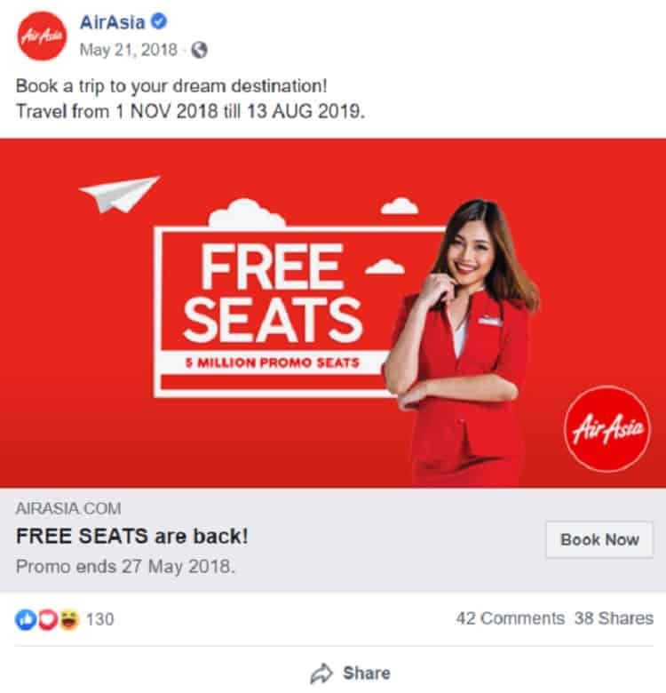 Air Asia - Free seats campaign